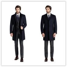 Зимняя куртка Толстая Однобортный 3 кнопки темно-синий мужские Peacoat Кашемир Шинель длинное пальто Большой размер XXXL шерстяные Куртки