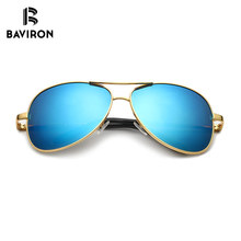 BAVIRON Wrap Aviator Sunglasses Retro Classic Designer Men Sunglasses Aluminum Polarized Sun Glasses Driving UV400 Oculos 1588