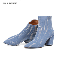 2018 New Hot Pointed Toe denim boots women super high thin heels broken hole zipper girls boots blue rough selvedge shoes women