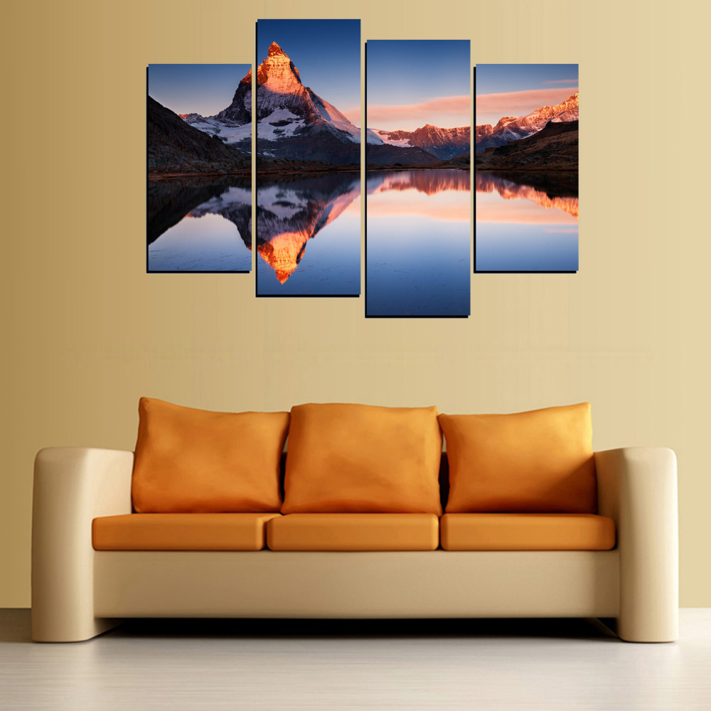 4 Panels Canvas Snow Peak And Lake Painting On Canvas Wall Art ...
