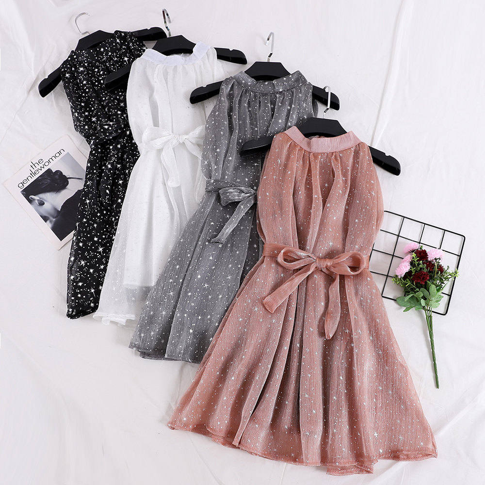 Elegant Women Bling Star Print Short Organza Puff Dress Female Halter Sleeveless Lace Up Bandage Strap Chiffon Ball Gown Dresses