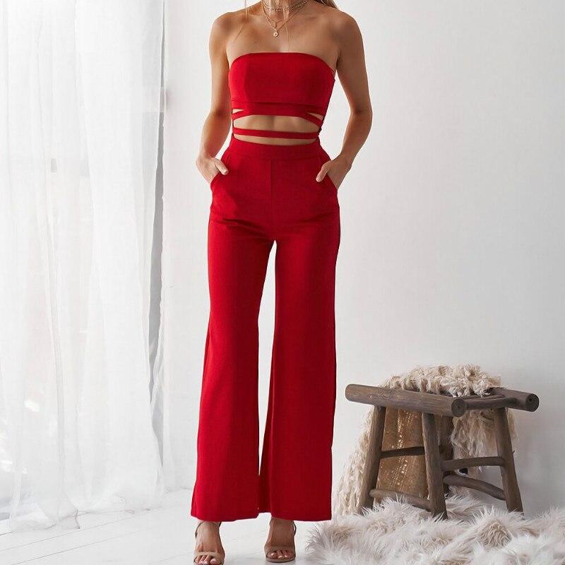 Fashion Cut Out Women Sexy Jumpsuit Summer Office Lady Strapless 2020 Long Pants Pocket Bodycon Jumpsuits Romper Plus Size M0596