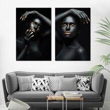 Золото Черная Девушка Wall Art Одноместный Отпечатки На Холсте Живопись с Рамкой Прокрутки  Лучший!