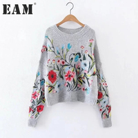 EAM 2018 Spring Round Neck Long Sleeve Flower Embroidered Gray Knitting Warm Loose Sweater Women