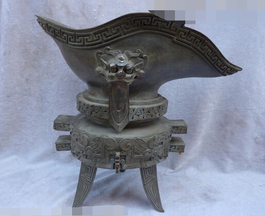 006828 12Chinese pure bronze dragon goblet statue