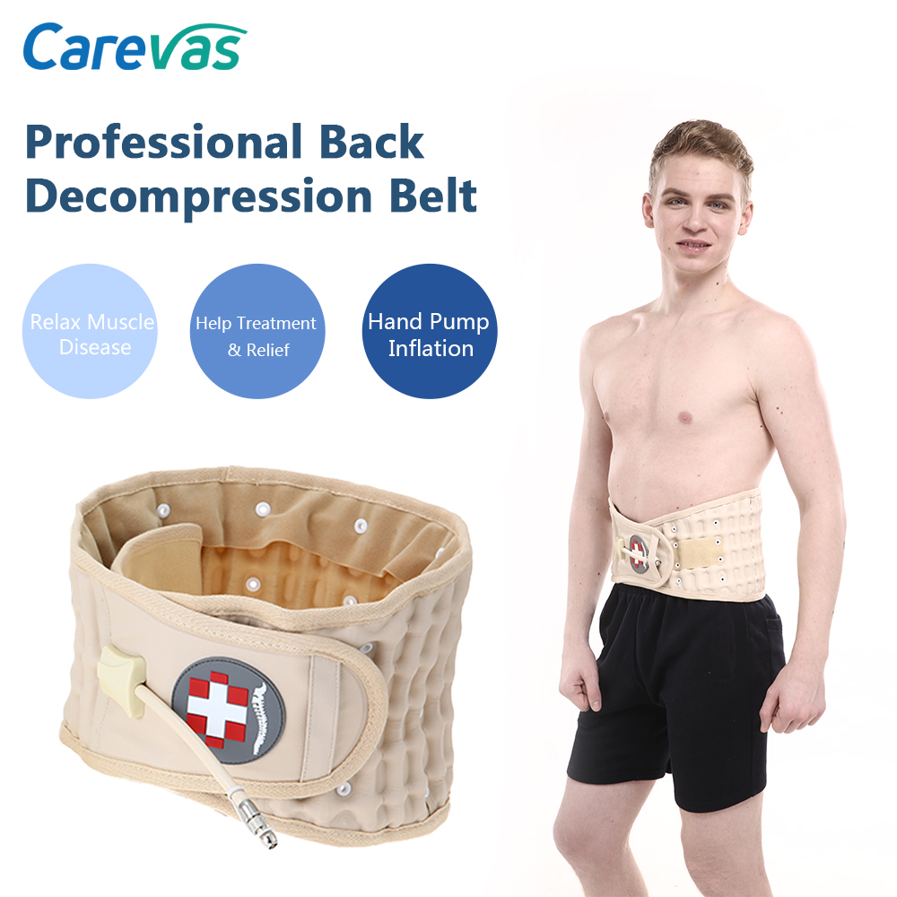 Carevas Back Decompression Belt Lumbar Support Brace Spinal Air Traction Device Back Pain Relief for Degenerative