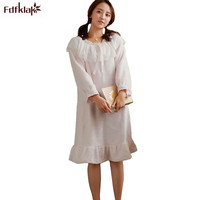 Fdfklak Flannel Winter Nightgown Women Long Sleeve Thick Warm Nightdress Autumn Dress Female Sleepwear Nightgowns Home Clothes