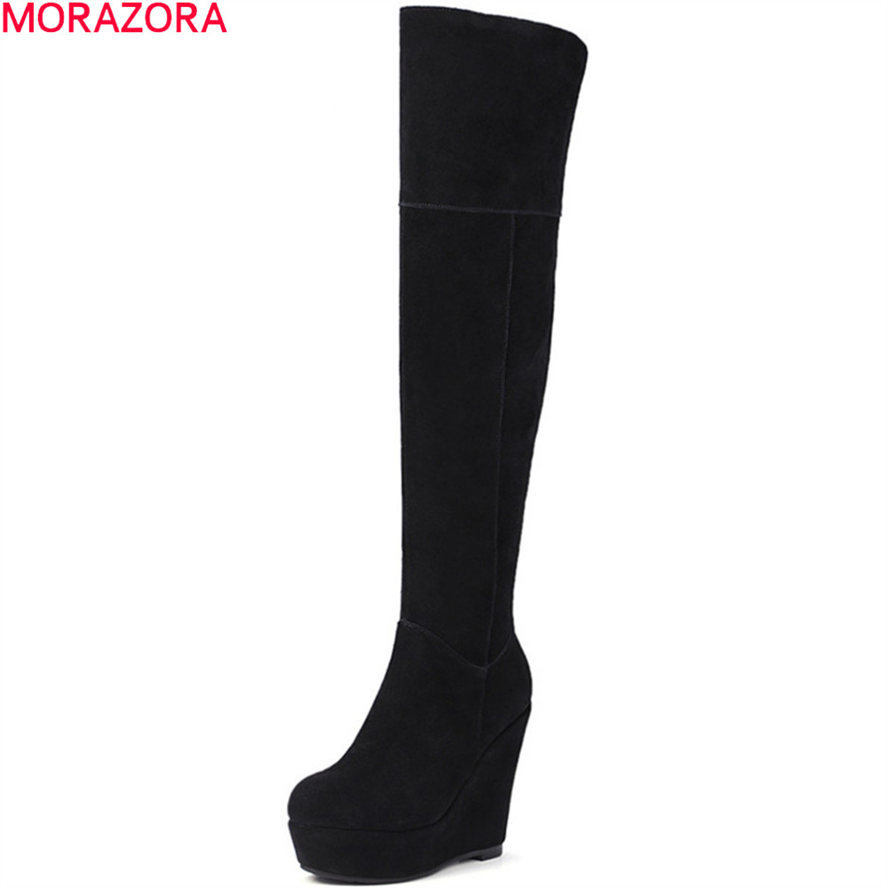 MORAZORA black fashion women boots autumn winter cow suede ladies boots wedges leather wedges over the knee boots platform