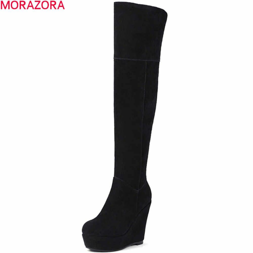 MORAZORA สีดำแฟชั่นผู้หญิงฤดูใบไม้ร่วงฤดูหนาว cow suede สุภาพสตรีรองเท้า wedges หนัง wedges เข่ารองเท้าบูทแพลตฟอร์ม