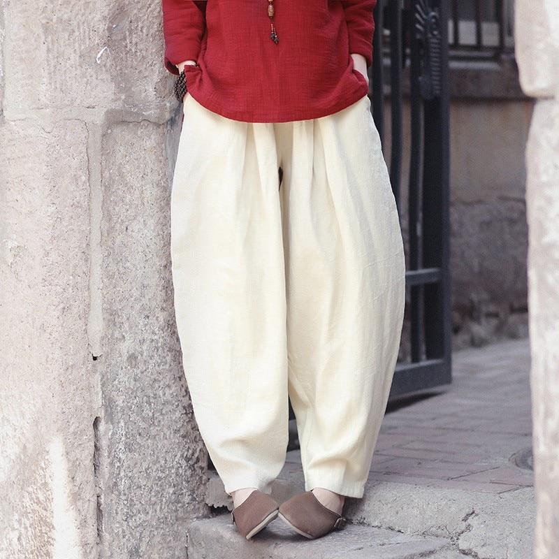 Femme Retro Woman Trousers Cotton Linen Loose Trousers Plus Size   Wide     Leg     Pants   Elastic Waist Vintage Womens Casual Harem   Pants