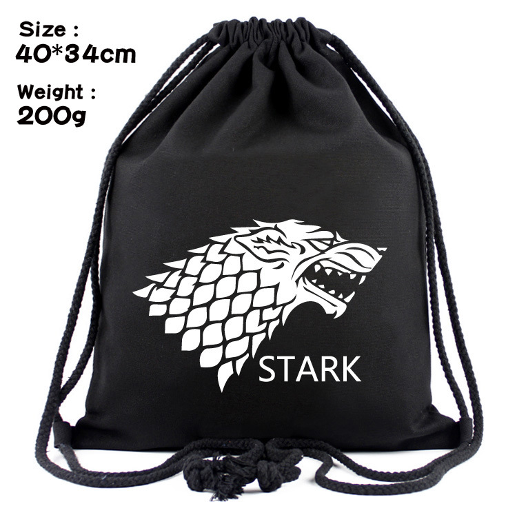 The Game Of Ice And Fire, Canvas, Simple Rope Drawstring Pocket, Backpack, Student Bag.