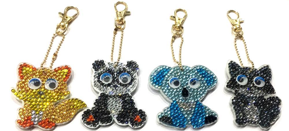 1/4Pcs DIY Diamond Painting Key Chain Cartoon Animal