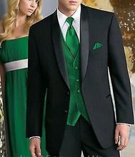 Custom Made Men Suits Black Tuxedo with Satin Shawl Lapel and Green Vest