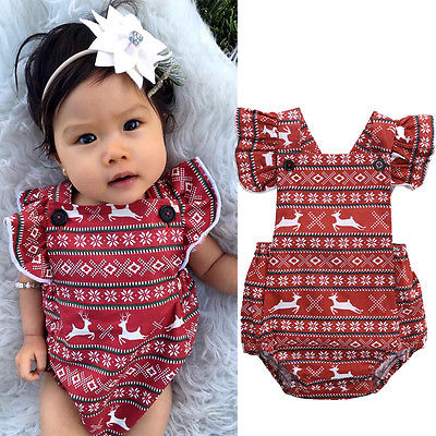 Leuke pasgeboren baby Baby meisje herten korte vliegen mouw Romper - Babykleding