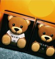 Fashion Mobile powerbank Teddy 4800mAh Mini power bank Luminous eyes Two output port with hanging wire birthday gifts