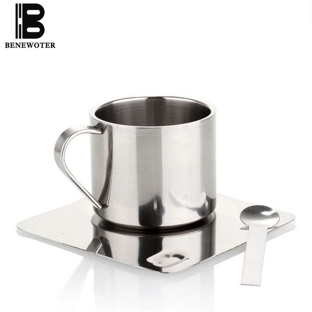 100ml Clic Double Layer Stainless Steel European Square Coffee Cups Saucer Spoon Set Metal Mug