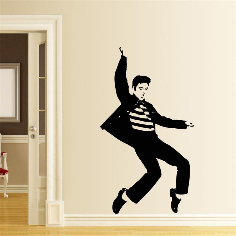 Elvis Presley Play Guitar Wall Stickers Home Decor Living Room Rock Music Wall Decals Vinyl Wallpaper Gifts Adesivo De Parede Adesivo De Parede Guitar Wall Stickermusical Wall Decals Aliexpress