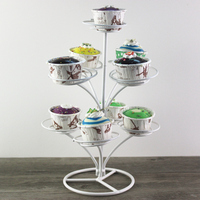Continental Iron Four Cake Rack 23 Cups Metal Cupcake Stand Wedding Multilayer Dessert Table Decoration Cake