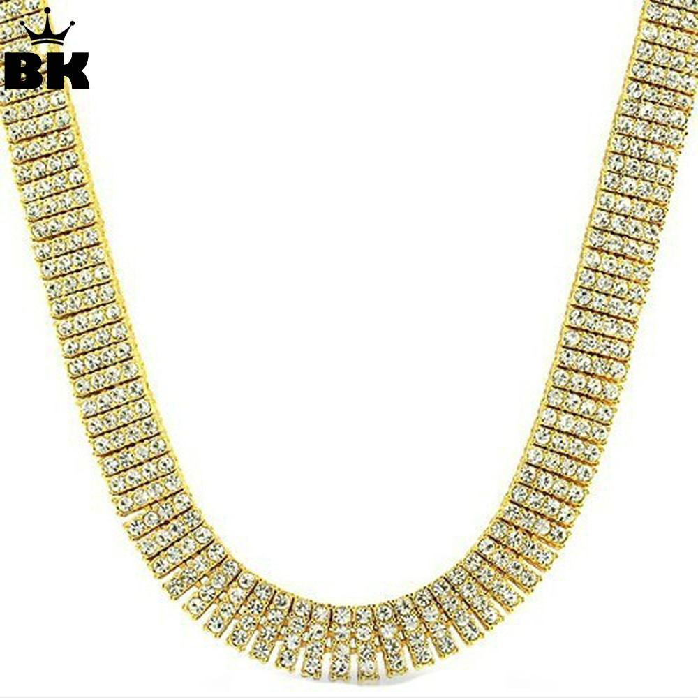 Hip Hop Mens 4 Row Tennis Collares Iced Out Rhinestone Gold - Bisutería