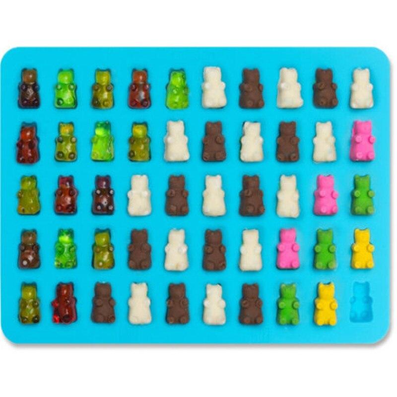 50 полость липких медведей жесткий конфеты шоколадные силиконовые мыло льда лоток выпечки формы помадка для украшения торта инструмент с D