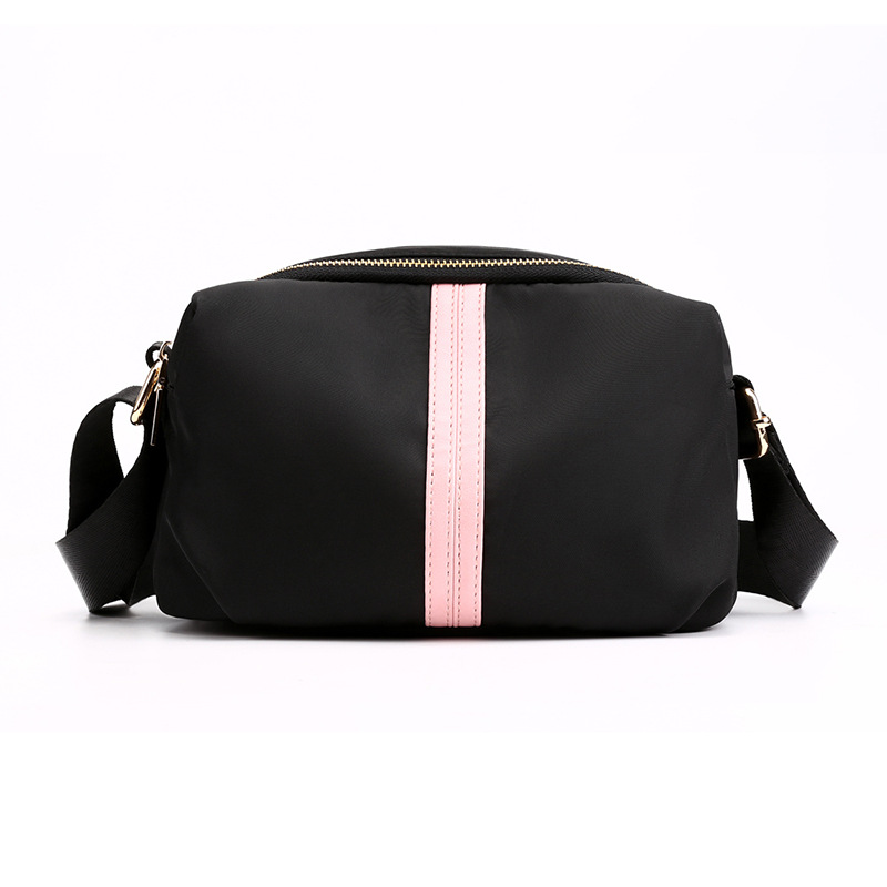Fashion Women Small Travel Handbags All-match Lady Shoulder&Crossbody Bags Nice Strip Printed Casual Nylon Carrier Black Bag image