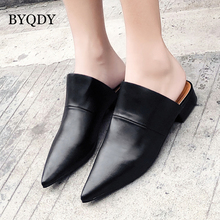 BYQDY Wholesale 2018 Spring Fashion Summer Women Pumps Black Outerwear Leather Shoes Pointed Toe Slip On Ladies