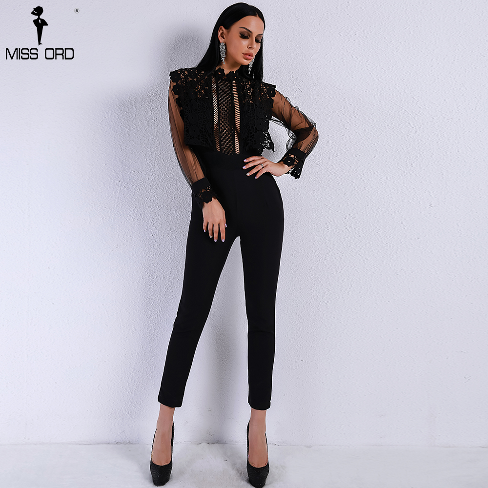 Missord 2019 Spring and Summer Sexy Lace See Through Mesh Hollow Out Long Sleeve Rompers Black Color Jumpsuit FT9079