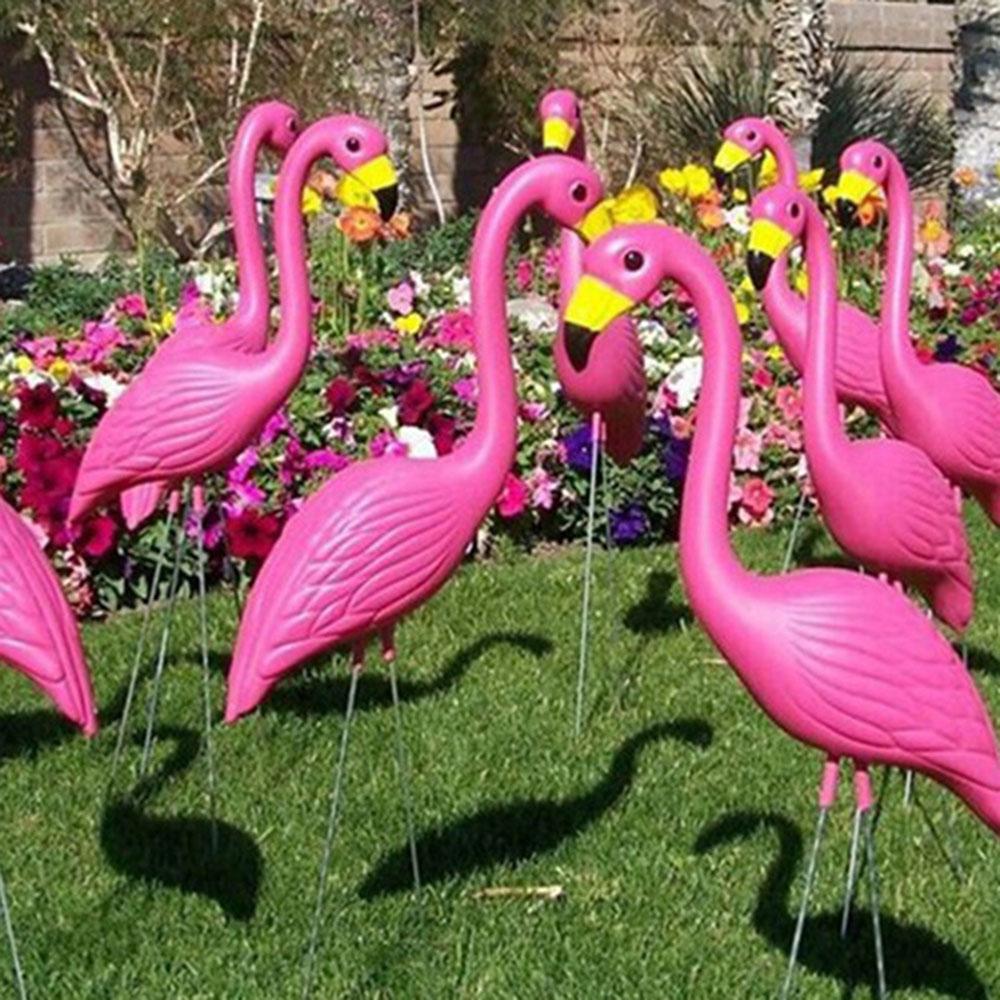 2PCS/Lot Artificial Flamingo Garden Miniatures Decorations Plastic ...