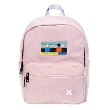 Creatieve en praktische roze en marine blauw corduroy borduurwerk rugzakken voor scholen en reizen in SCENE series (FUN KIK)