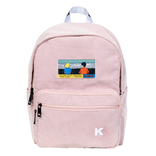 Creative and practical  pink and navy blue corduroy embroidery backpacks for schools and traveling in SCENE series(FUN KIK)