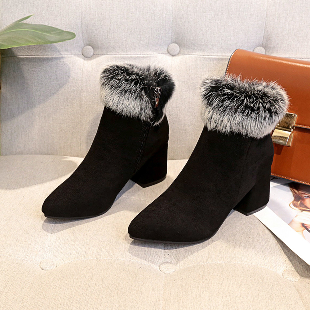 shoes Boots Women Suede Ladies Faux Warm Ankle Slip-On Boots Shoes Middle Heels Martin boots women 2018Nov1 42