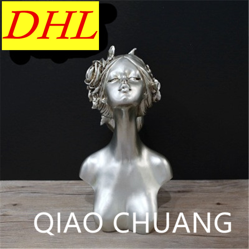 Classical Girl Champagne Silver Bust Sculpture Creative Colophony Crafts TV Bench Furnishing Articles G1027Classical Girl Champagne Silver Bust Sculpture Creative Colophony Crafts TV Bench Furnishing Articles G1027