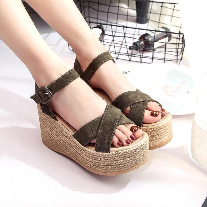 Sandalias de cuñas de mujer 2019 zapatos súper altos de verano plataforma de mujer tacones altos Sexy sandalias de moda femenina calzado de señora SH030503
