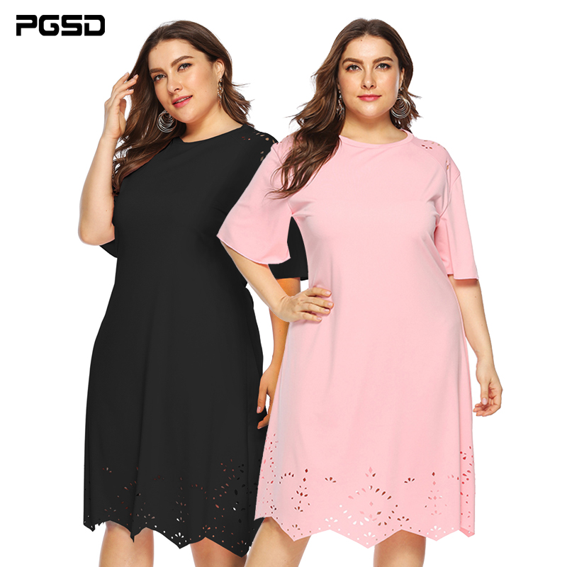 PGSD Summer casual Big Size Short sleeve Loose O-Neck Hollow-out solid color wavy-edged dress Plus female Fashion women clothes
