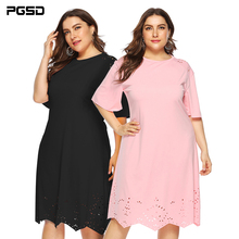 цена на PGSD Summer casual Big Size Short sleeve Loose O-Neck Hollow-out solid color wavy-edged dress Plus female Fashion women clothes