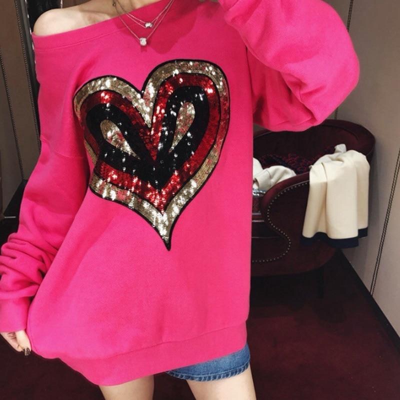 Cute Cotton Hoodies 2018 New Europe Designer Heart Sequins Womens Sweatshirt harajuku Vintage Oversized Loose Casual Pullover