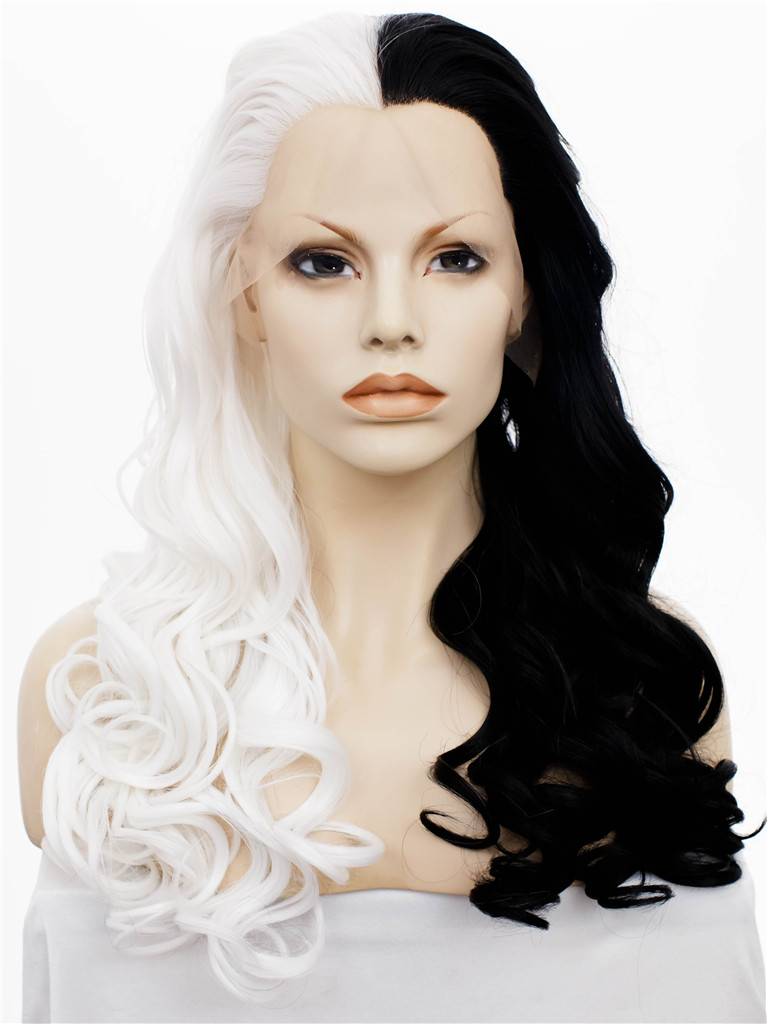 half half black hair styles imstyle wavy synthetic half white and half black 24 inches 2777