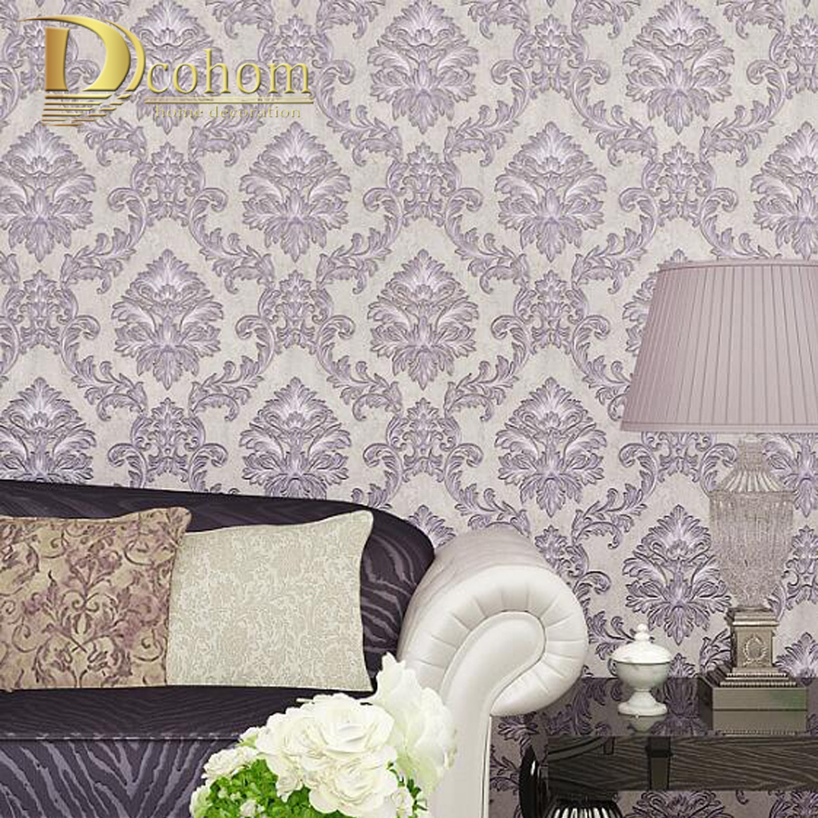 Simple European Vintage Luxury Damask Wallpaper For Walls 3 D Home Decor Bedroom Living room Brown Beige Grey Wall paper Rolls european luxury beige deep blue damask wallpaper for wall 3 d classic embossed tv room bedroom wall paper home decor deming n71