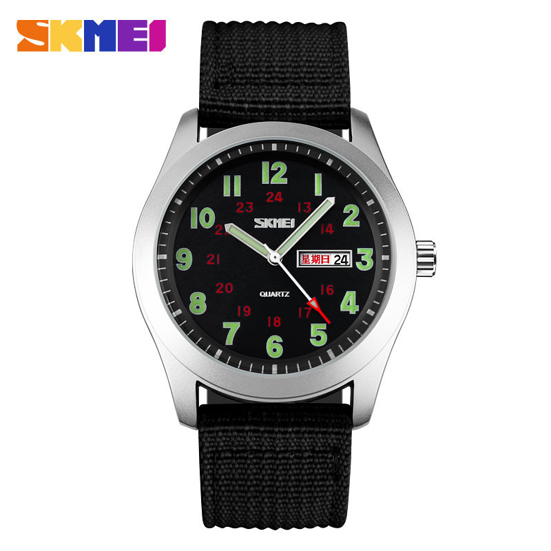 SKMEI Luxury Brand Military Watch Men Quartz Analog Clock Nylon Strap Clock Man Sports Watches Army Relogios Masculino summer fashion womens denim pants ripped hole jeans stretch knee length jeans sexy torn femme skinny body jeans