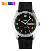 SKMEI Luxury Brand Military Watch Men Quartz Analog Clock Nylon Strap Clock Man Sports Watches Army Relogios Masculino
