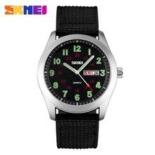 Skmei relógio analógico de quartzo masculino, relógio de marca de luxo militar de quartzo com pulseira de nylon, relógio esportivo para homens