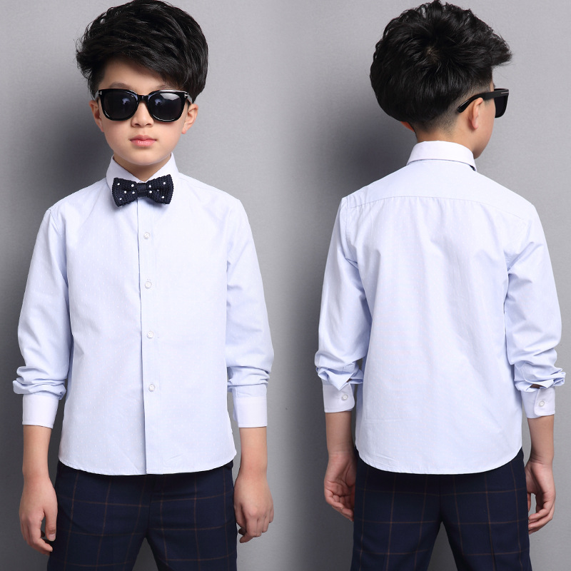 baa597862 Kids Formal Shirts For Boys Cotton Children Clothing Bow Long Sleeve Boy  Blouses Tops Spring Autumn Party Uniforms 5 7 8 10 12 Y-in Shirts from  Mother ...