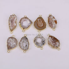 Connector Beads Making Jewelry Gold-Color Nature ZYZ-C2345 10PCS Geode Fit-For
