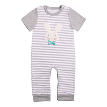 Baby Grey Striped Bunny Bodysuit