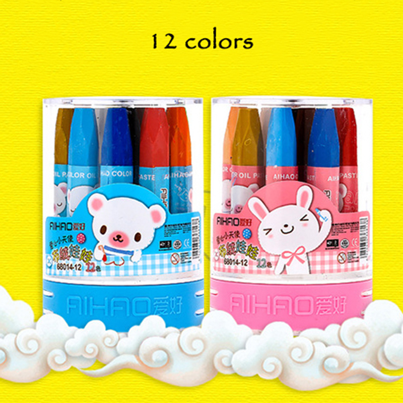 12 Colors Wax Crayon Top Level Oil Pastel Chalks Oil Painting Stick Crayon Painting For Children School Office Art Supplies