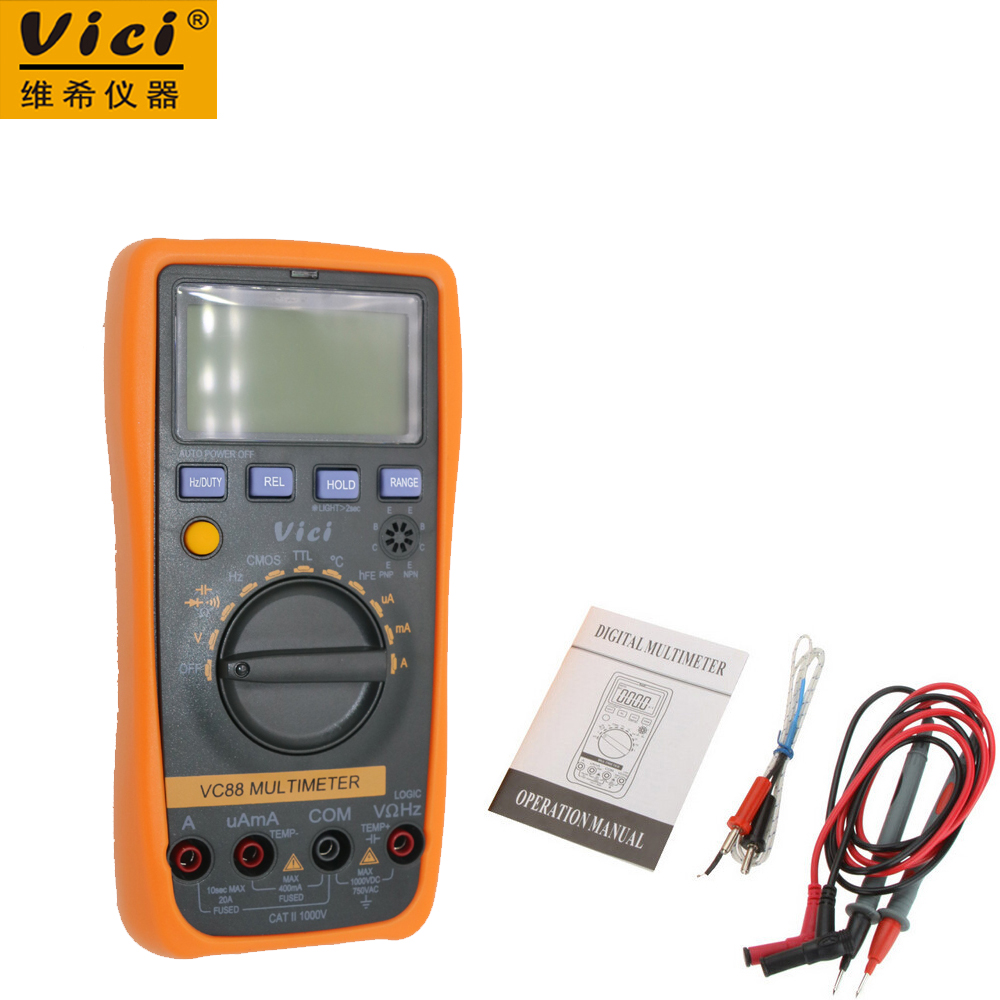 Vici VC88 3 3/4 Digital Multimeter Auto Range DMM w/Temperature Capacitance Frequency hFE & CMOS & TTL Logic Test vici vc88 3 3 4 autorange digital multimeter dmm w logic test f t r c dc ac v a