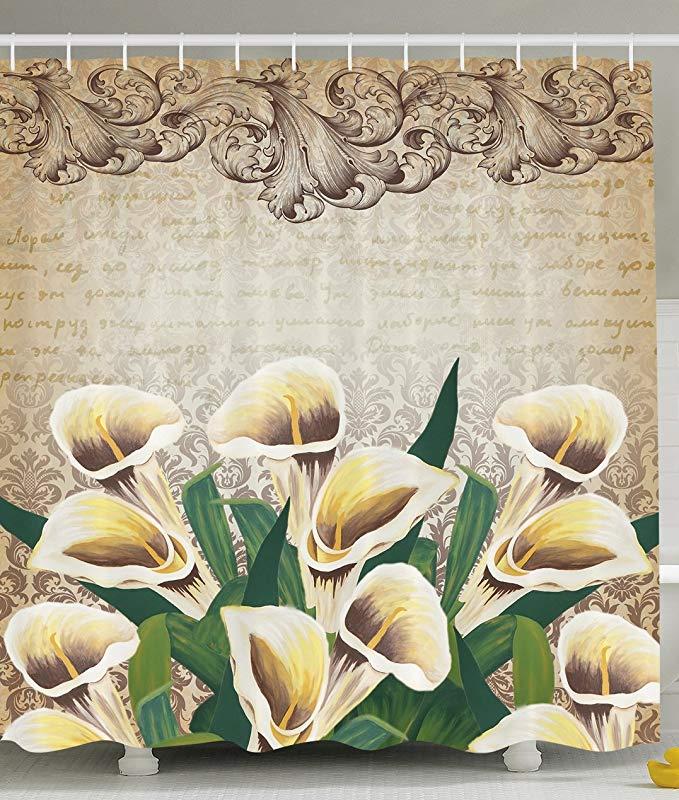 Art Nouveau verdure Floral décor Calla Lilly fleurs décoration rideau de douche Vintage Design romantique salle de bain