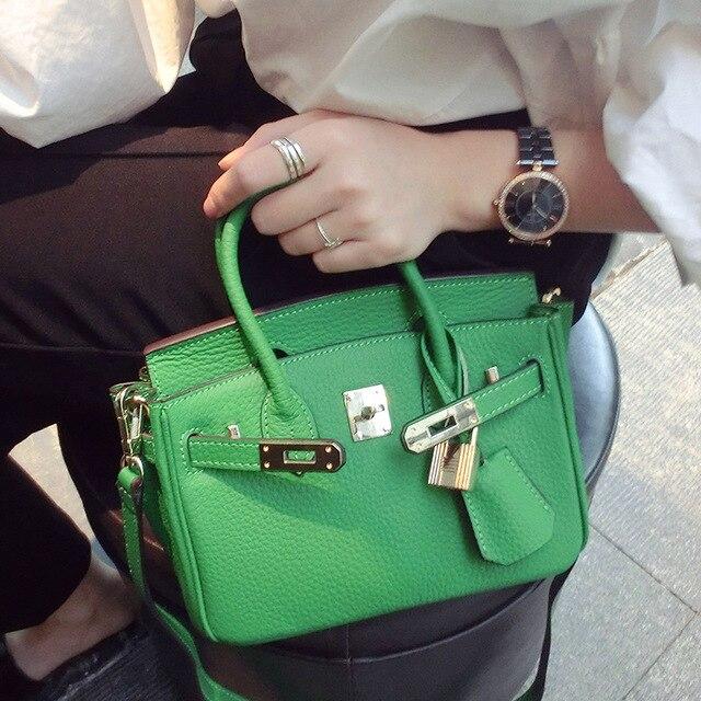ФОТО 2016 Limited Single Clutch Cowhide Real Leather Litchi Pattern Mini Trumpet Baodan Platinum Diagonal Small Bag Handbags Genuine