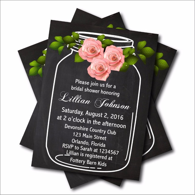 20 Pcs Vintage Mason Jar Wedding Invitation Cards Bridal Shower Invites  Chalkboard Rustic Lace Wedding Decoration