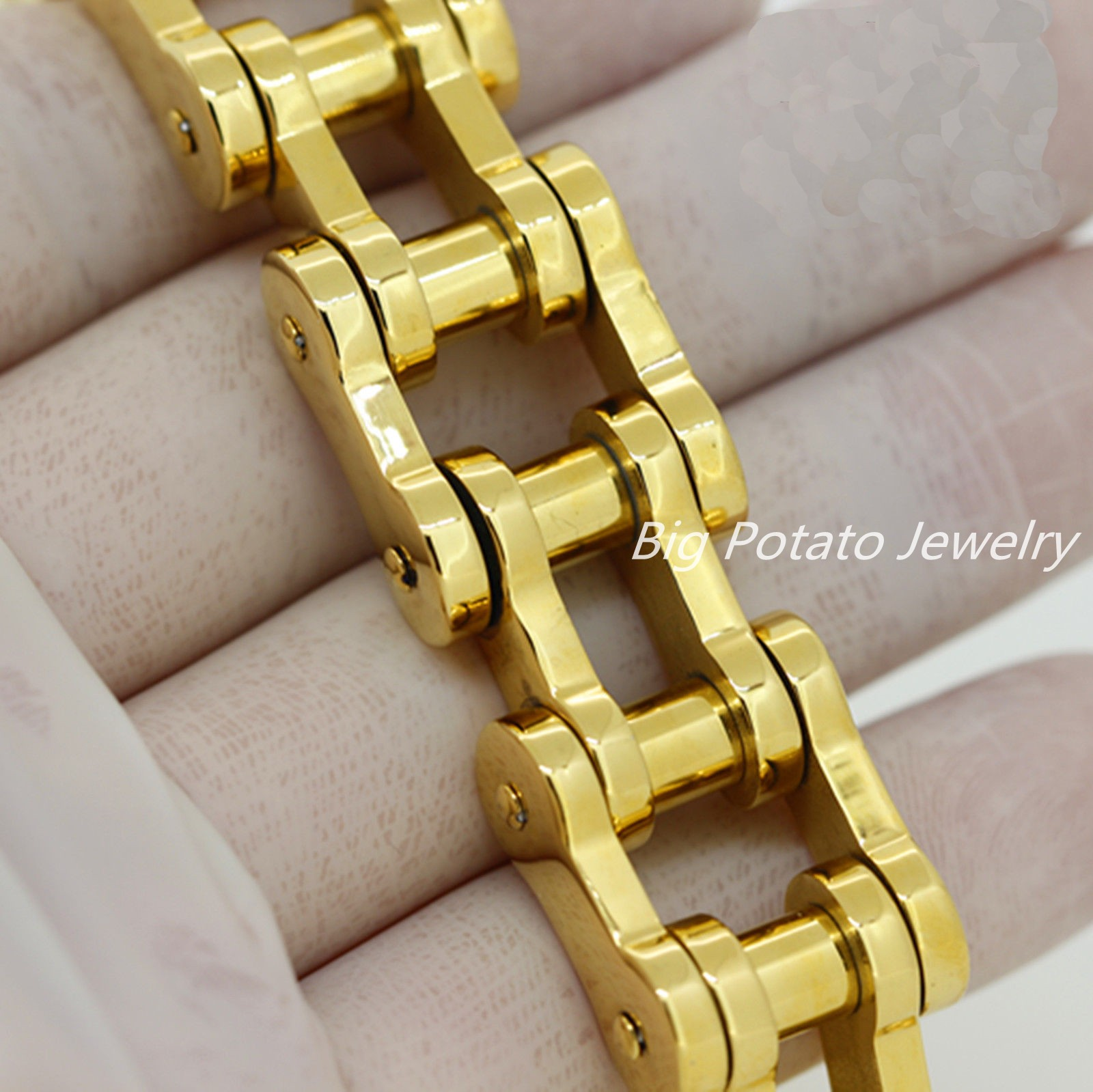 920mm Fashion 316L Stainless Steel Gold Biker Jewelry Mens